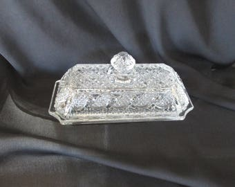 Avon Crystalucent clear glass butter dish