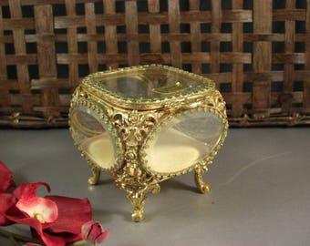 Globe Ormolu and Beveled Glass Jewelry Casket Trinket Dresser Wedding Ring Box / Original Tag