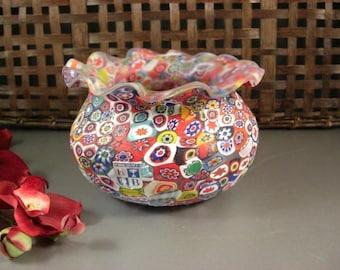 KB Murano Millefiori Art Glass Bowl Vase Jardiniere Matte Satin Finish / Original Tag