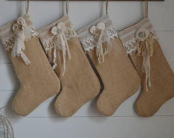Burlap Stocking Christmas Stocking/Lace Cuff  Christmas Stocking with Hand-Rolled Fabric Flower/Prairie Farmhouse Style/Rustic Chic/Limited