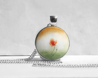 Hand Painted Pendant, Poppy Charm Necklace, Floral Art Jewelry, Chain Bezel Necklace, Lonely Poppy Flower, Miniature Painting by Artdora
