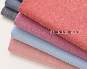 Solid Plain Chambray Cotton Fabric Rosy Grey Gray Blue For Shirts Clothing - 1/2 yard