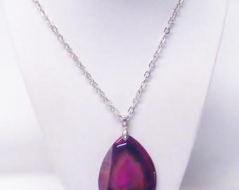 Large Reddish Polished Agate Teardrop Pendant Necklace