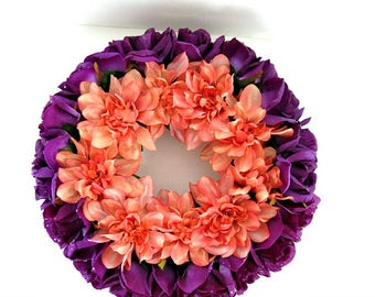 Silk floral candle ring, Fall home decor, Table centerpiece, Autumn candle ring, Peach and purple floral wreath, Kitchen table decoration
