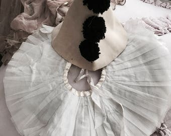 Rare antique pierrot costume collar cone hat jester clown theater vintage by nina shabby french nordic chic tulle