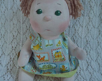"Fretta's BeBe Cheeks Doll. Jointed 43 cm /17"" Soft Sculpture Girl. Textile Baby Doll. Child Safe Cloth Baby"