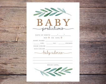 Printable Greenery Baby Prediction Shower Game, INSTANT DOWNLOAD, Garden Party, Gender Neutral, Baby Predictions, DIY, Printable –Waverly