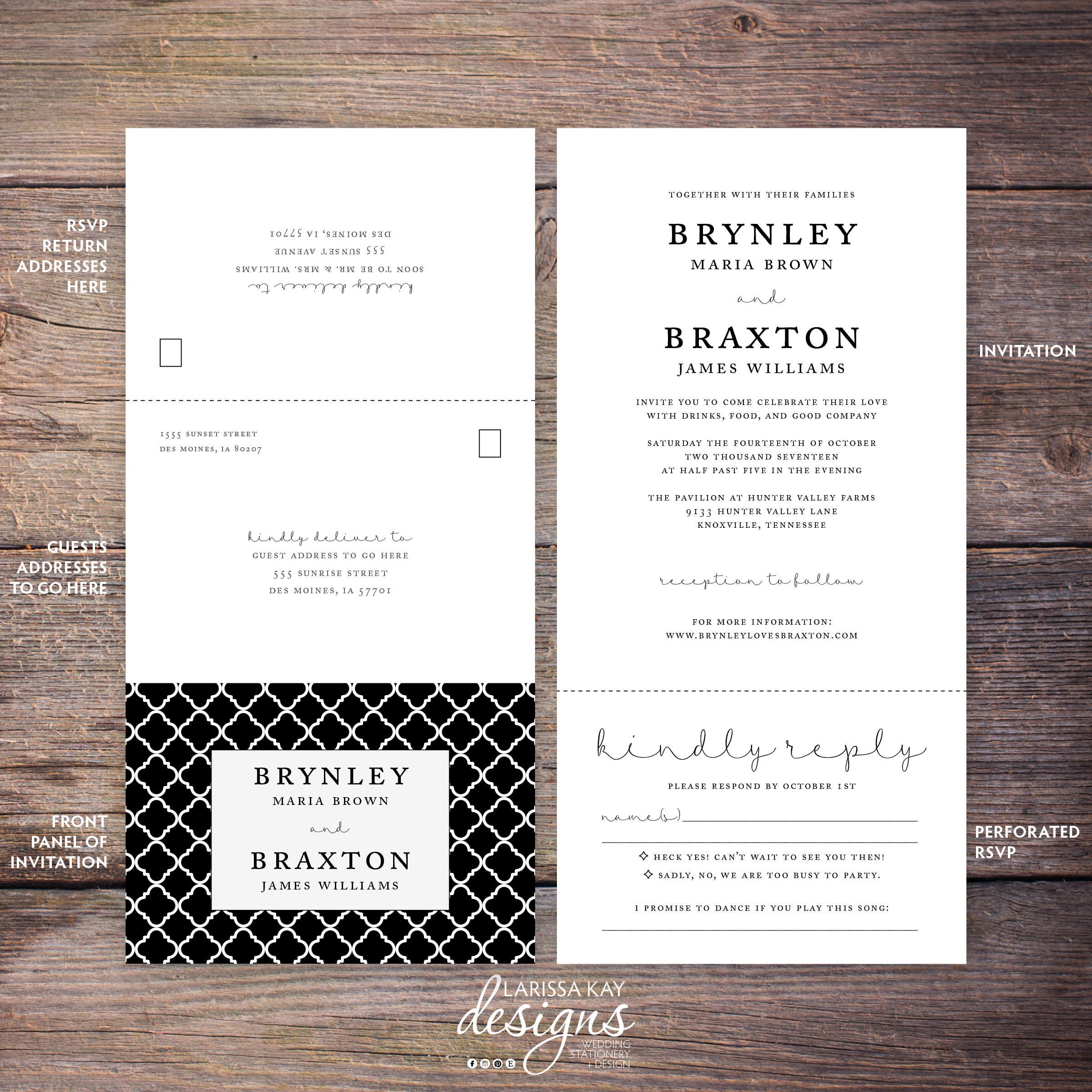 printable classic black and white seal and send wedding invite send n seal wedding - Send And Seal Wedding Invitations