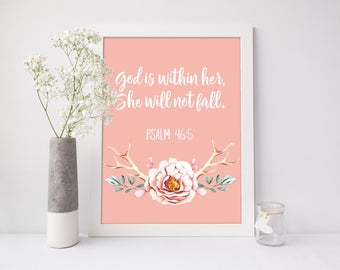 God is Within Her, She Will Not Fall, Christian Nursery Wall Art, Bible Home Decor, Shower Gift, Baby Gift,  Bible Verse Art Print, A-1327