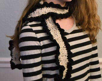 Black and Gray Speckled Curly Scarf