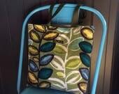 RESERVED for Chris - Vintage barkcloth fabric tote bag - green leaf and stem
