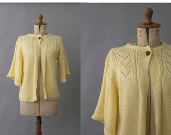 Coquille Knit wool Cardigan / vintage yellow  knit Cardigan liseuse