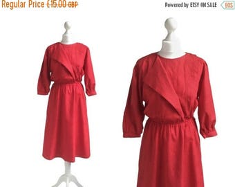 On Sale 1980's Dress - Red Dress - Vintage Dress - 80's Dress - Asymmetric Neckline