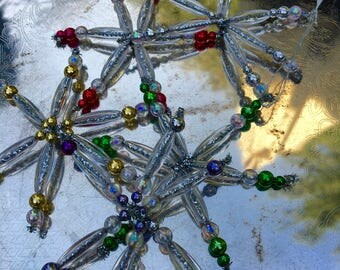 Vintage Ornaments, Stars or Snowflakes, Beaded, Five Colors, Sold as a Set