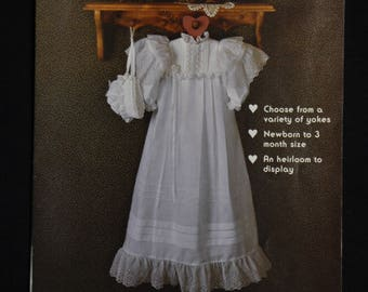 Beautiful Christening Gown and  Bonnet - Size Newborn to 3 Months - UNCUT - Gooseberry Hill Pattern 125