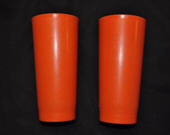 "2 Orange Tupperware Tumblers - 7 1/2"" Tall - 16 ounces"