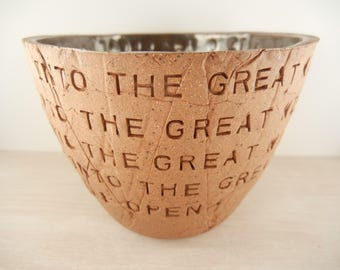 Tom Petty - Into the Great Wide Open - Pottery Bowl / Song Lyric Pottery / Lyric Pottery / Music Lyric Pottery / Song Lyric Art