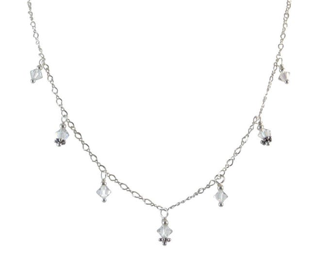 Swarovski Crystal 7 Drop Bead Necklace on Sterling Silver or 14k Gold Fill