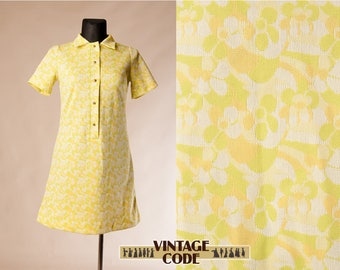 Lime Yellow Green Floral Mod Hippie 60s 70s vintage dress / Short sleeve 60s 70s  Knit Jersey short dress / size  Large to Extra Large