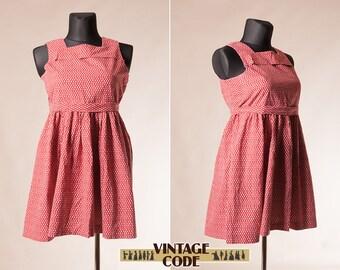 Short Red White Laura Ashley dress /  Short sleeve Laura Ashley mini dress / Cotton mini dress Summer dress / Size plus