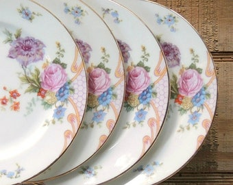Vintage Epaig Bridal Rose Bread and Butter Plates Set of 4 Sweet Sixteen Tea Party Plates Wedding Plates
