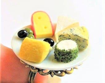 Food Jewelry, Cheese Platter Ring, Miniature Food Ring, Cheese Ring, Food Jewelry, Mini Food, Cheese Lover Jewelry, Cheese Plate Ring Kawaii