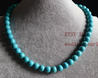 10 mm turquoise necklace, single strand man-made turquoise bead necklace, bridesmaid jewelry, statement necklace, women necklace, jewelry