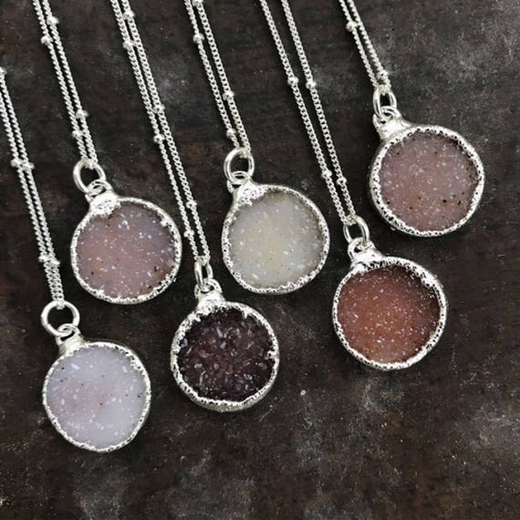 Druzy Quartz Necklaces, Druzy Jewelry, boho chic, wedding jewelry