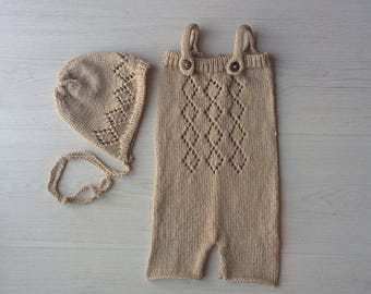 Knit romper 6 - 12Months Knit baby pants set Toddler photo prop Knit alpaca romper Sitter set Baby shorts Baby girl props 6-12M Baby overall