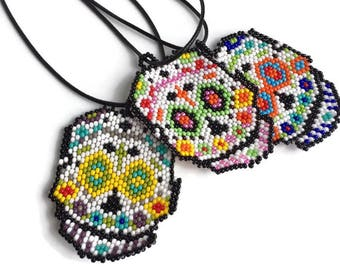 Sugar Skull Seed Bead pendant - Handcrafted Fair Trade