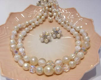 Laguna Two Strand White Bead and Faceted Aurora Borealis Bead Necklace and Matching Clip Earrings