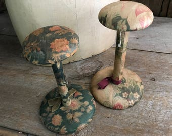 Millenary Wood Hat Stand, Floral Fabric Covered, Shabby Chic, 2 Available
