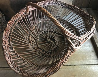 Rustic French Wicker Basket, Rare Spiral Form, Primitive, Rustic Country Farmhouse