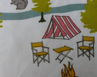 1/2 Yard Organic Cotton Fabric - Birch Fabrics Camp Sur 3, Campout Main Poplin
