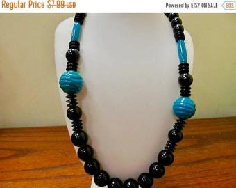 ON SALE Retro Teal and Black Plastic Beaded Necklace Item K # 350