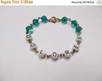 ON SALE Vintage DOLORES Glass Beaded Name Bracelet Item K # 717