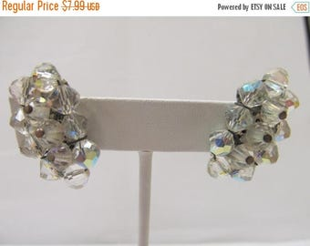 ON SALE Vintage Crescent Aurora Borealis Earrings Item K # 2411