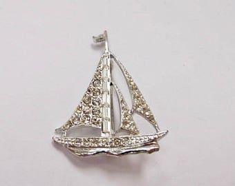 ON SALE Vintage Rhinestone Sailboat Pin Item K # 2475