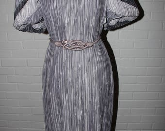 Vintage pale purple Fortuny pleat dress with rope belt by  Lillie Ruben similar to Mary McFadden!