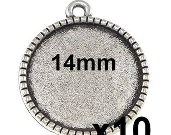 10 supports mod640 14mm cabochon Silver Pendant