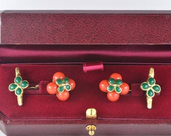 Victorian coral and green enamel rare gents cuff links