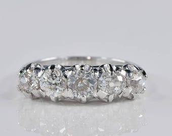 Art Deco fabulous quintet of 1.60 Ct diamond ring