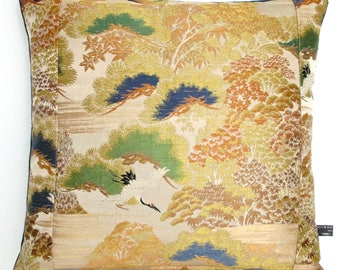 Luxury Oriental Pillow Cushion with Japanese Trees & Flying Crane made from Embroidered Vintage Japanese Obi Silk choice of Lush velvet