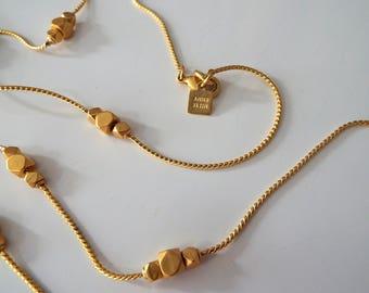 Vintage Anne Klein Matte Gold Long Chain