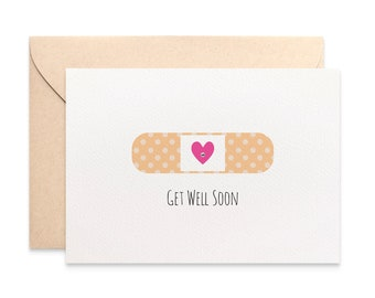 Get Well Soon Card, Get Well Card, Funny Get Well Card, Band-aid, Get Well Soon Greeting Card, Feel better card, Handmade Card GWS011