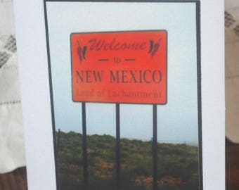 photo card, welcome to New Mexico sign photograph