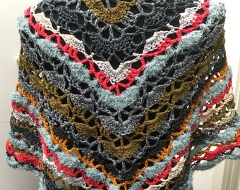 Southbay crochet scarf gehaakte sjaal omslagdoek gallina di moda cotton mix organico sparkle by claire trecolori