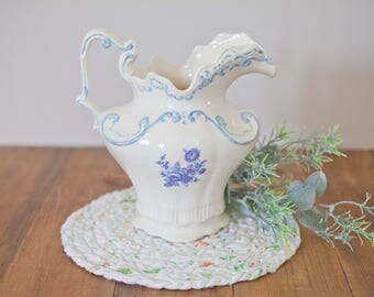 White Blue Pitcher // Vintage Home Decor // Farmhouse style dishes // French Country // Arnels