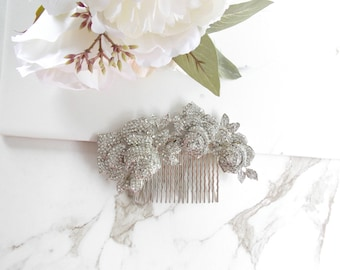 Rose Bouquet Hair Comb. Wedding hair comb, Bridal hair comb, Crystal Hair Comb, Olenna Tyrell Hair Comb