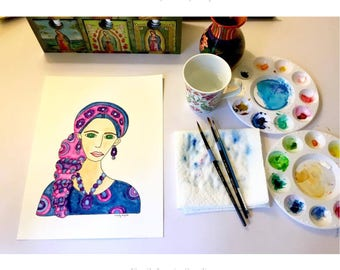 Painting / Art Print / Woman in Scarf  / Green Eyes Hair Scarves  / Breast Cancer Awareness / Unique Artwork / Art Print Home Decor Jewelry